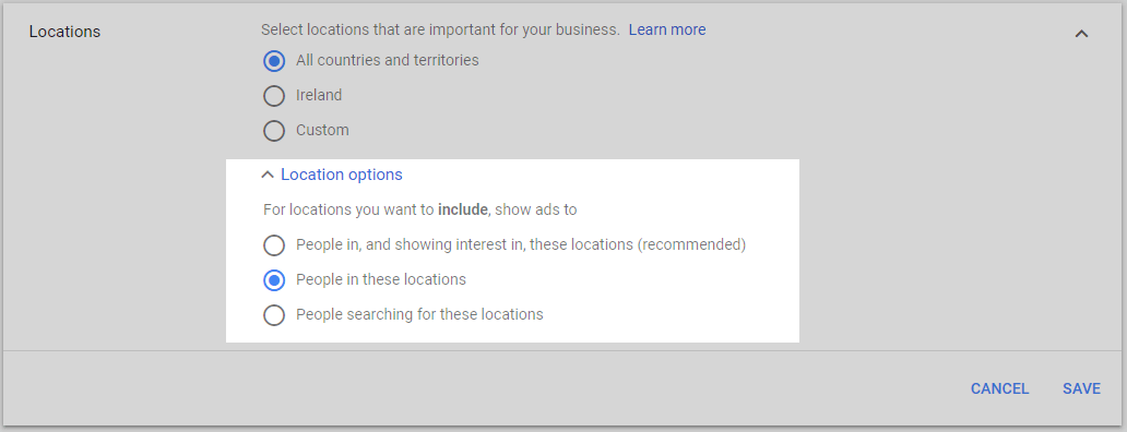 adwords location options advanced