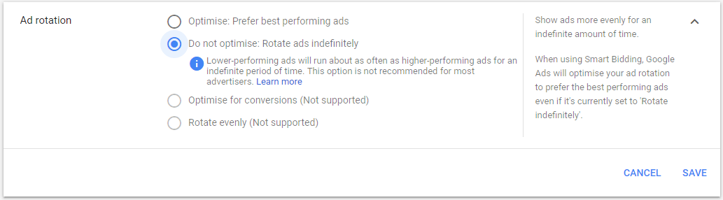 rotate ads indefinitely